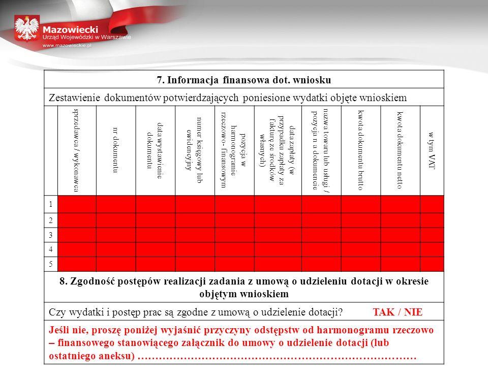 7. Informacja finansowa dot. wniosku Zestawienie dokumentów potwierdzających poniesione wydatki objęte wnioskiem sprzedawca / wykonawca nr dokumentu d