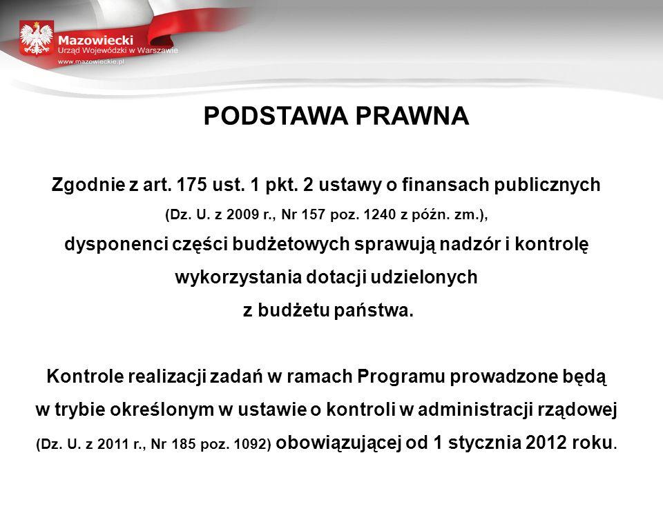 PODSTAWA PRAWNA Zgodnie z art. 175 ust. 1 pkt. 2 ustawy o finansach publicznych (Dz. U. z 2009 r., Nr 157 poz. 1240 z późn. zm.), dysponenci części bu