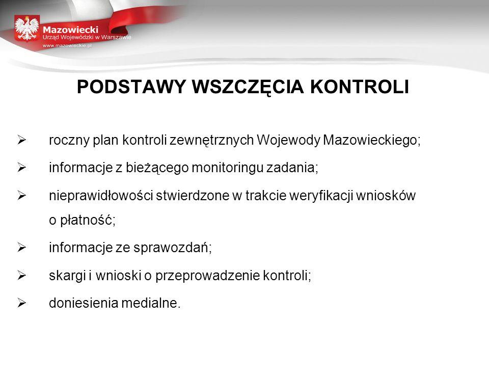 PODSTAWY WSZCZĘCIA KONTROLI roczny plan kontroli zewnętrznych Wojewody Mazowieckiego; informacje z bieżącego monitoringu zadania; nieprawidłowości stw