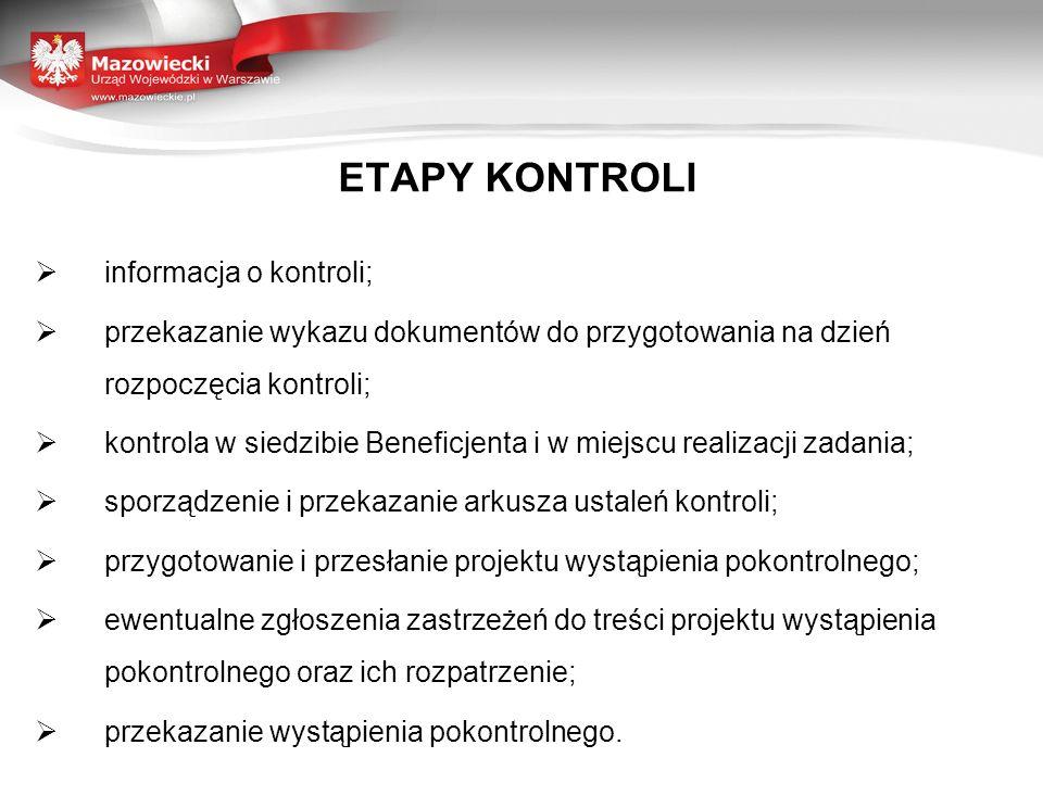ETAPY KONTROLI informacja o kontroli; przekazanie wykazu dokumentów do przygotowania na dzień rozpoczęcia kontroli; kontrola w siedzibie Beneficjenta