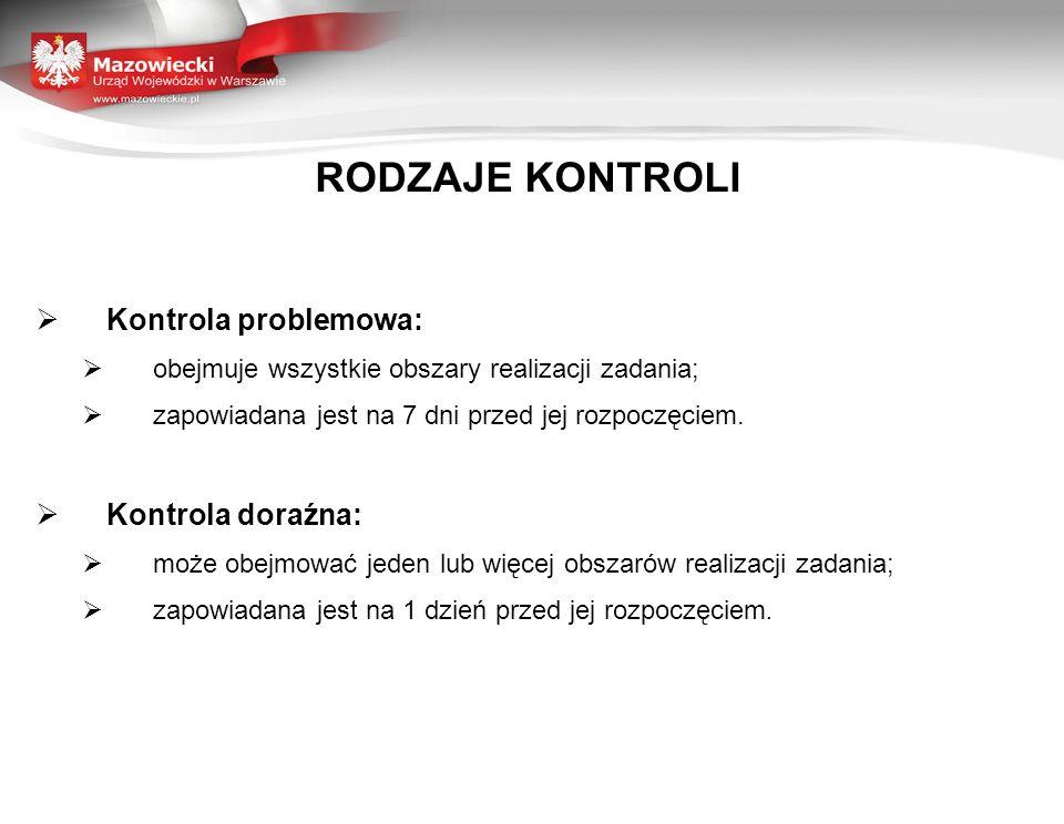RODZAJE KONTROLI Kontrola problemowa: obejmuje wszystkie obszary realizacji zadania; zapowiadana jest na 7 dni przed jej rozpoczęciem. Kontrola doraźn