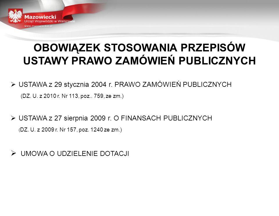 OBOWIĄZEK STOSOWANIA PRZEPISÓW USTAWY PRAWO ZAMÓWIEŃ PUBLICZNYCH USTAWA z 29 stycznia 2004 r. PRAWO ZAMÓWIEŃ PUBLICZNYCH (DZ. U. z 2010 r. Nr 113, poz