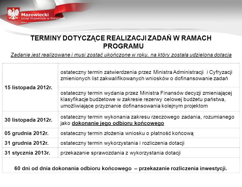 TERMINY DOTYCZĄCE REALIZACJI ZADAŃ W RAMACH PROGRAMU Zadanie jest realizowane i musi zostać ukończone w roku, na który została udzielona dotacja 15 li