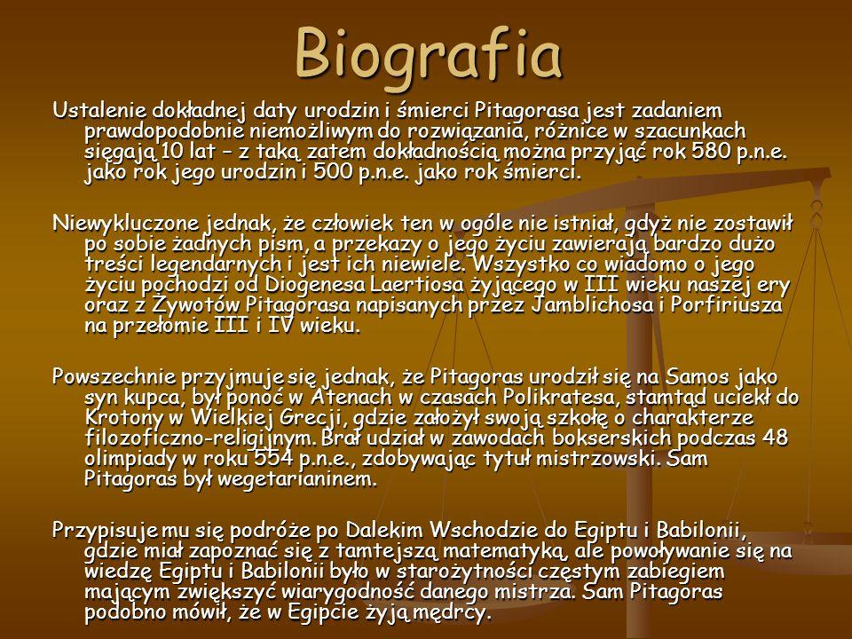 Biografia Ustalenie dokładnej daty urodzin i śmierci Pitagorasa jest zadaniem prawdopodobnie niemożliwym do rozwiązania, różnice w szacunkach sięgają