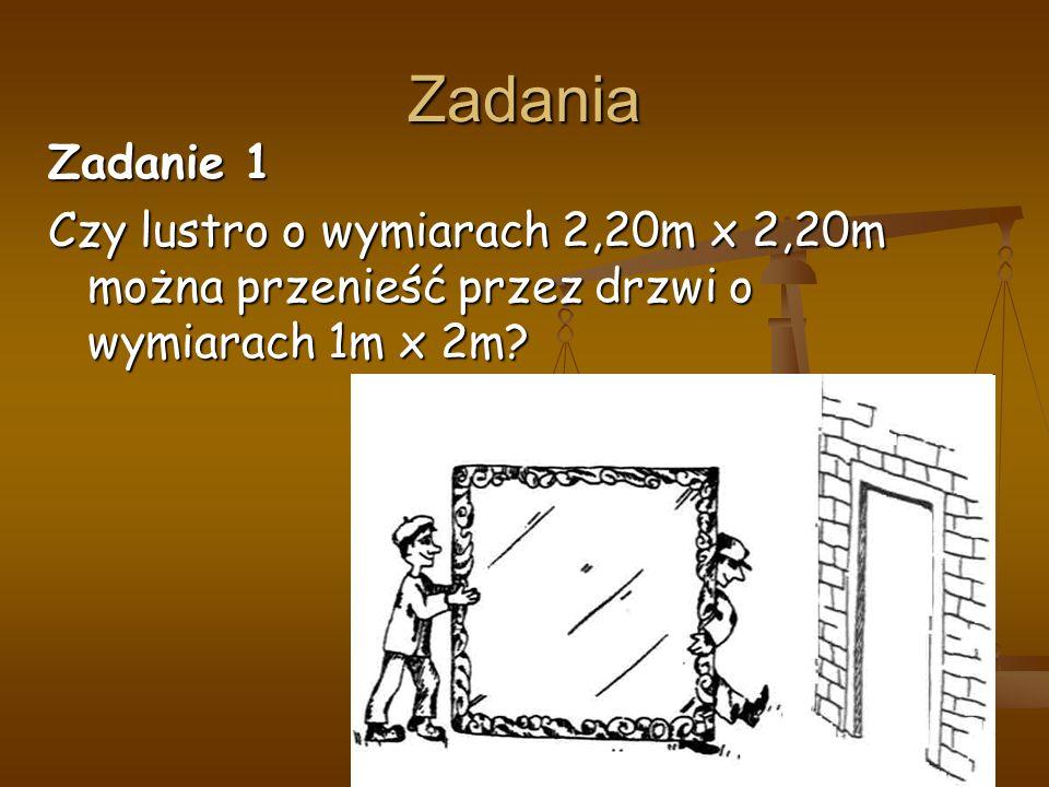 Zadania Zadanie 1 Czy lustro o wymiarach 2,20m x 2,20m można przenieść przez drzwi o wymiarach 1m x 2m?