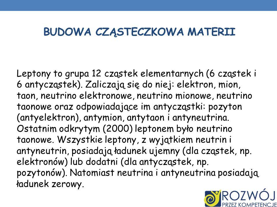 BUDOWA CZĄSTECZKOWA MATERII Leptony to grupa 12 cząstek elementarnych (6 cząstek i 6 antycząstek). Zaliczają się do niej: elektron, mion, taon, neutri