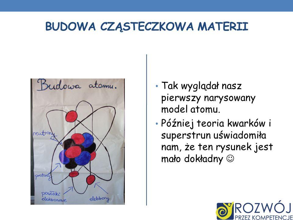 BUDOWA CZĄSTECZKOWA MATERII Tak wyglądał nasz pierwszy narysowany model atomu. Później teoria kwarków i superstrun uświadomiła nam, że ten rysunek jes