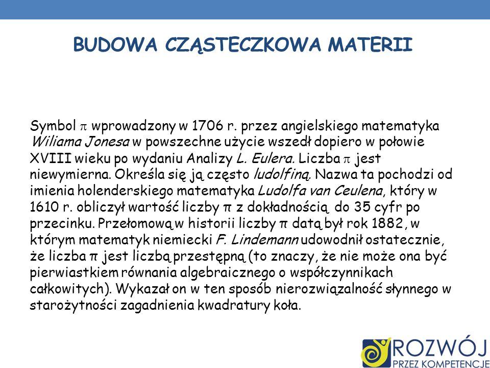 BUDOWA CZĄSTECZKOWA MATERII Symbol wprowadzony w 1706 r.