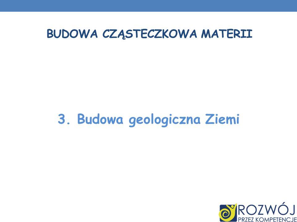 BUDOWA CZĄSTECZKOWA MATERII 3. Budowa geologiczna Ziemi