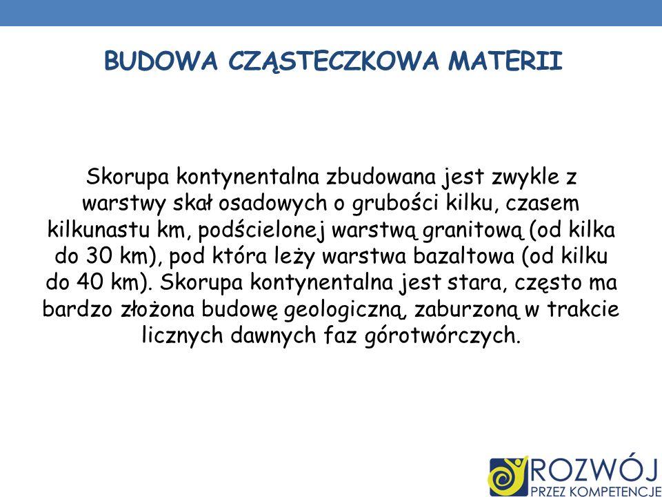 BUDOWA CZĄSTECZKOWA MATERII Skorupa kontynentalna zbudowana jest zwykle z warstwy skał osadowych o grubości kilku, czasem kilkunastu km, podścielonej warstwą granitową (od kilka do 30 km), pod która leży warstwa bazaltowa (od kilku do 40 km).