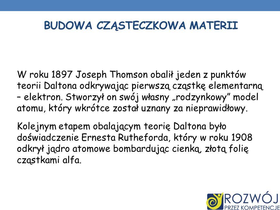 BUDOWA CZĄSTECZKOWA MATERII W roku 1897 Joseph Thomson obalił jeden z punktów teorii Daltona odkrywając pierwszą cząstkę elementarną – elektron.