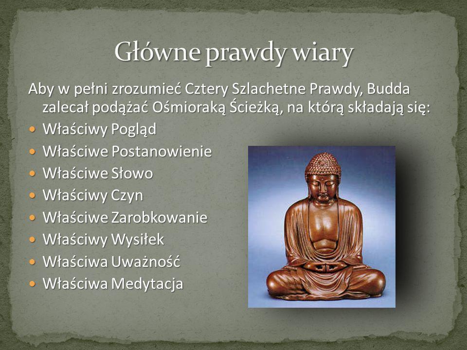 Aby w pełni zrozumieć Cztery Szlachetne Prawdy, Budda zalecał podążać Ośmioraką Ścieżką, na którą składają się: Właściwy Pogląd Właściwy Pogląd Właści