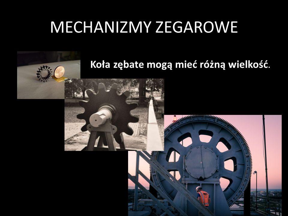 MECHANIZMY ZEGAROWE Każdy mechanizm zegarowy składa się przekładni mechanicznych, w których przeniesienie napędu odbywa się za pośrednictwem nawzajem