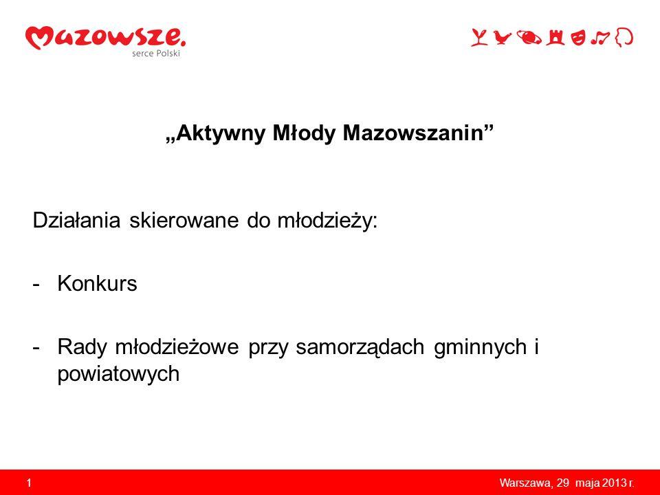 Aktywny Młody Mazowszanin Działania skierowane do młodzieży: -Konkurs -Rady młodzieżowe przy samorządach gminnych i powiatowych 1Warszawa, 29 maja 2013 r.