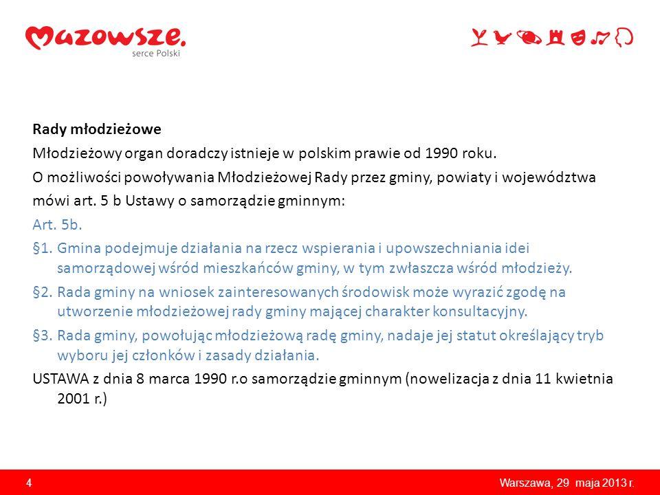 Rady młodzieżowe Młodzieżowy organ doradczy istnieje w polskim prawie od 1990 roku.