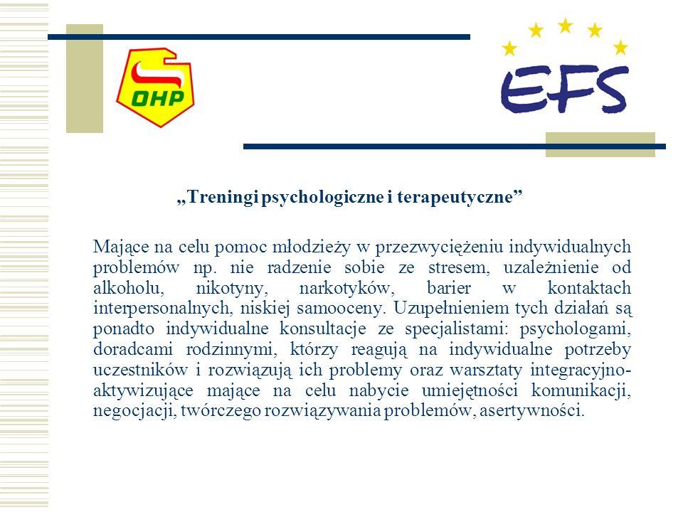 Treningi psychologiczne i terapeutyczne Mające na celu pomoc młodzieży w przezwyciężeniu indywidualnych problemów np.