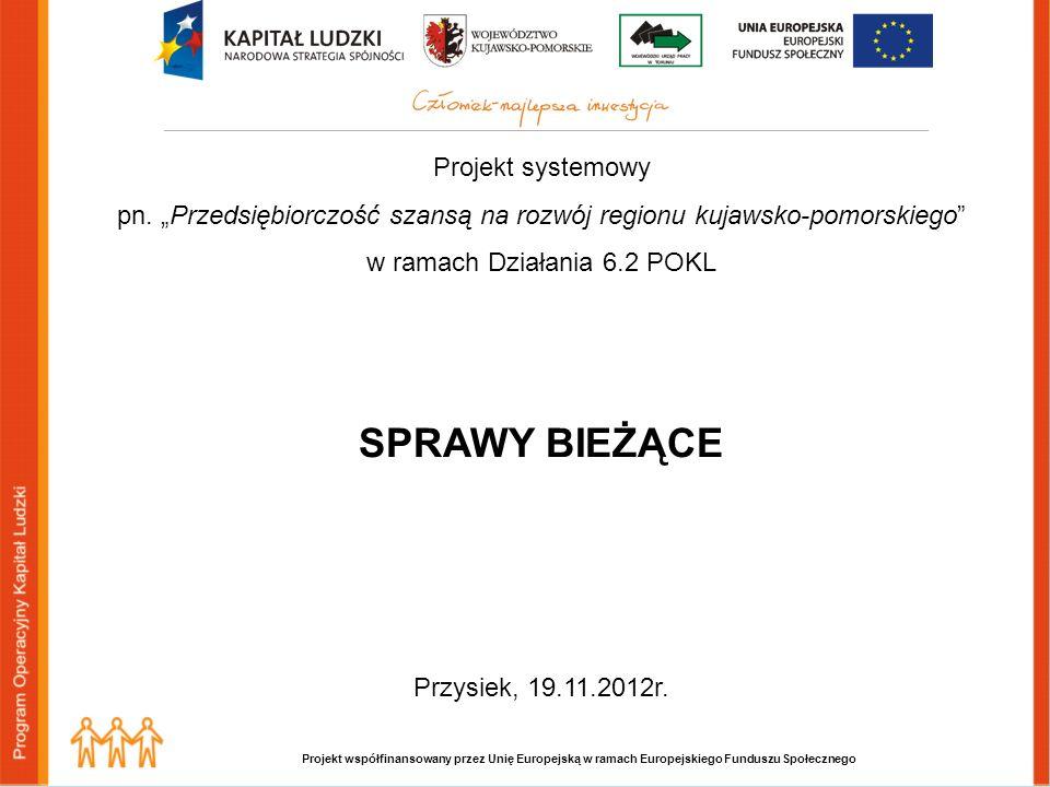 Projekt współfinansowany przez Unię Europejską w ramach Europejskiego Funduszu Społecznego Projekt systemowy pn. Przedsiębiorczość szansą na rozwój re