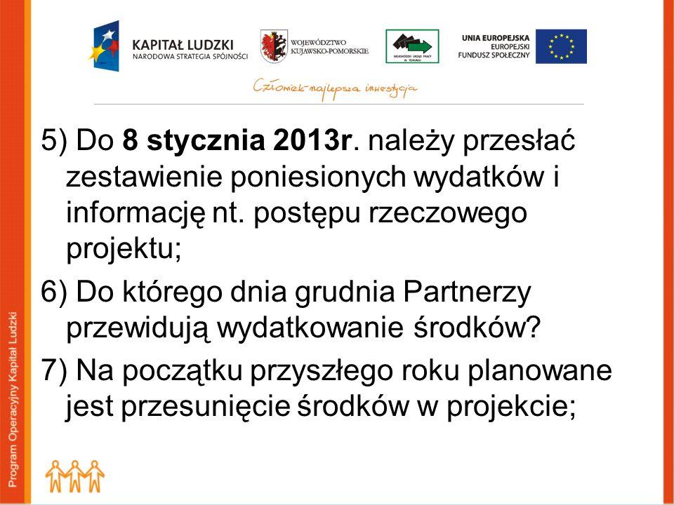 5) Do 8 stycznia 2013r. należy przesłać zestawienie poniesionych wydatków i informację nt. postępu rzeczowego projektu; 6) Do którego dnia grudnia Par