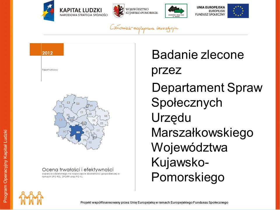 Projekt współfinansowany przez Unię Europejską w ramach Europejskiego Funduszu Społecznego Badanie zlecone przez Departament Spraw Społecznych Urzędu Marszałkowskiego Województwa Kujawsko- Pomorskiego