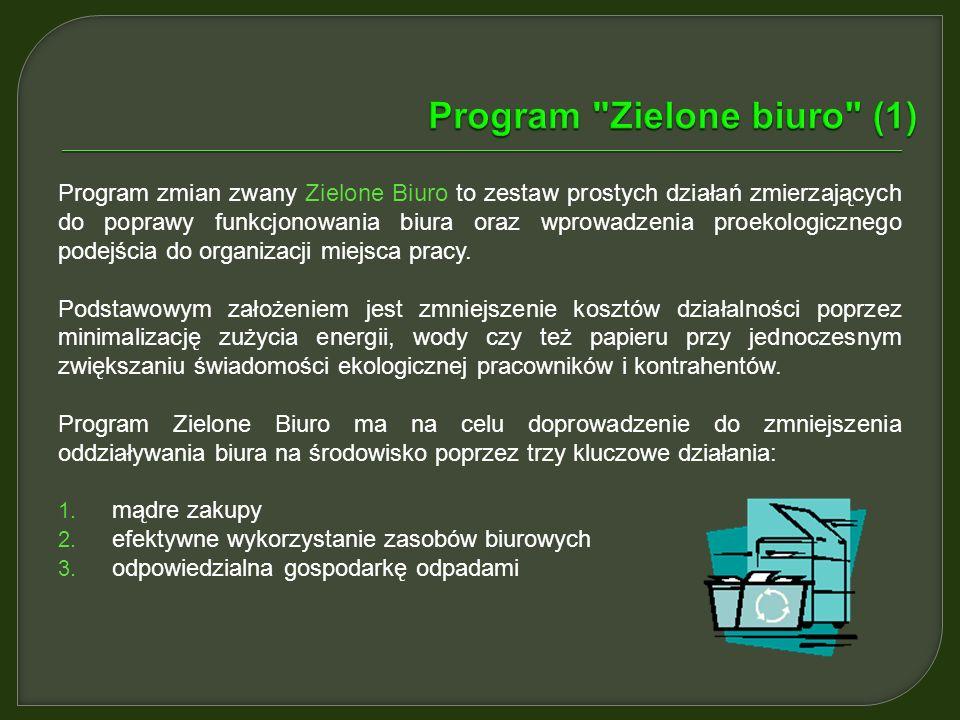 Program zmian zwany Zielone Biuro to zestaw prostych działań zmierzających do poprawy funkcjonowania biura oraz wprowadzenia proekologicznego podejścia do organizacji miejsca pracy.
