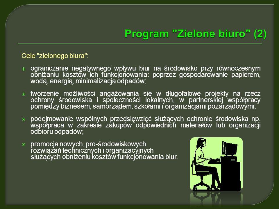 Program zmian zwany Zielone Biuro to zestaw prostych działań zmierzających do poprawy funkcjonowania biura oraz wprowadzenia proekologicznego podejści
