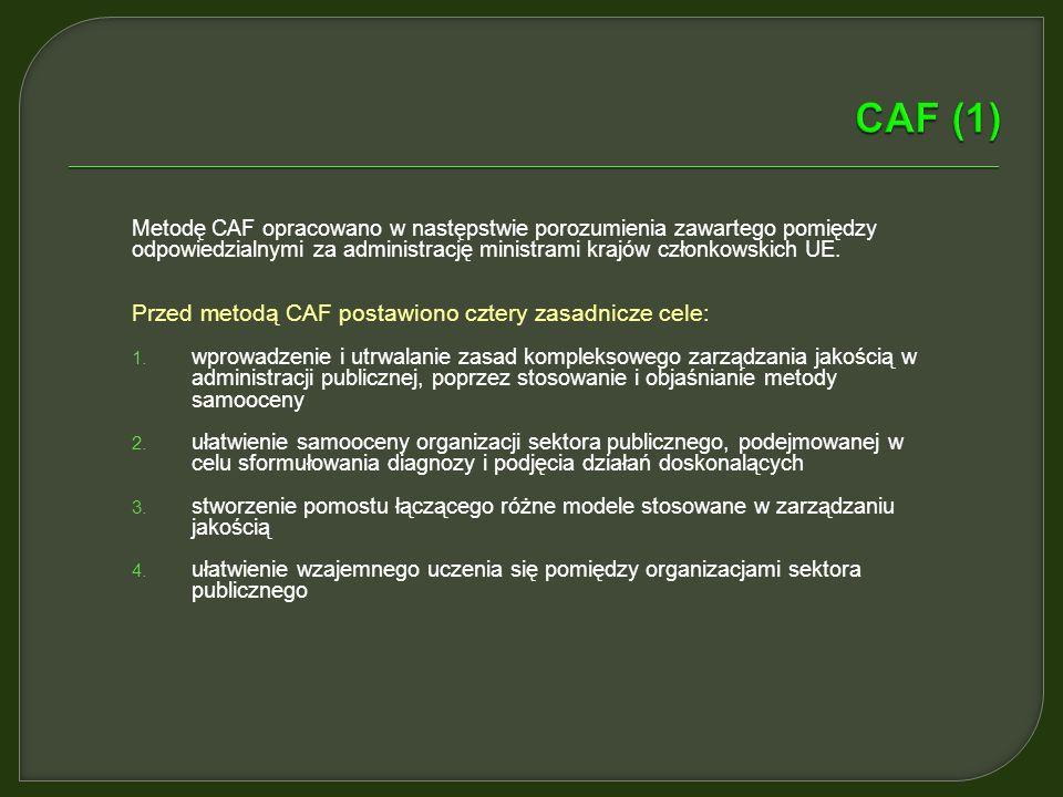 Metodę CAF opracowano w następstwie porozumienia zawartego pomiędzy odpowiedzialnymi za administrację ministrami krajów członkowskich UE.