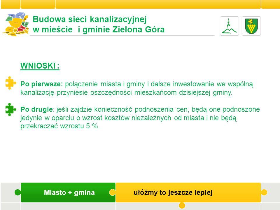 Miasto + gmina ułóżmy to jeszcze lepiej Budowa sieci kanalizacyjnej w mieście i gminie Zielona Góra WNIOSKI : Po pierwsze: połączenie miasta i gminy i
