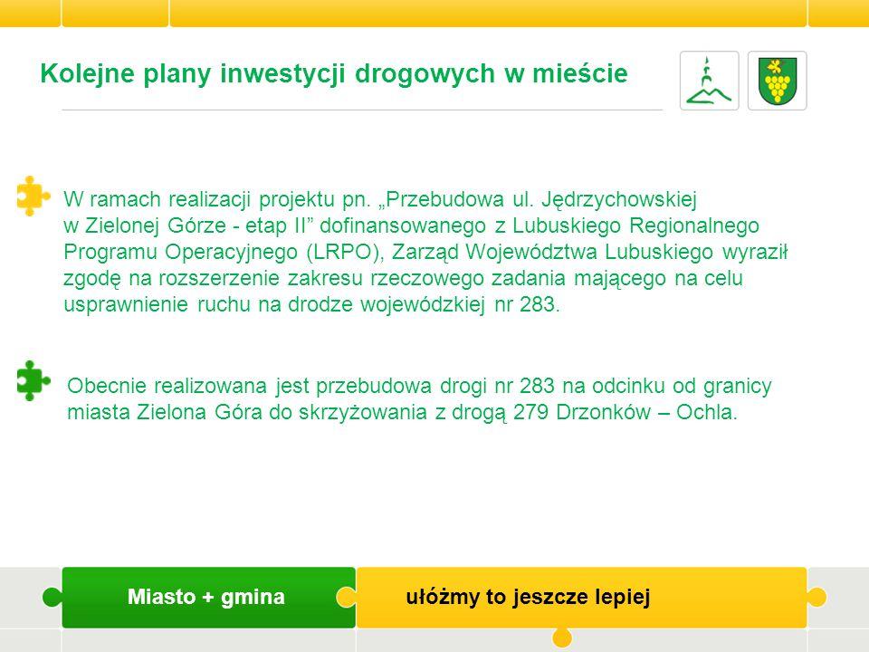 Kolejne plany inwestycji drogowych w mieście W ramach realizacji projektu pn. Przebudowa ul. Jędrzychowskiej w Zielonej Górze - etap II dofinansowaneg