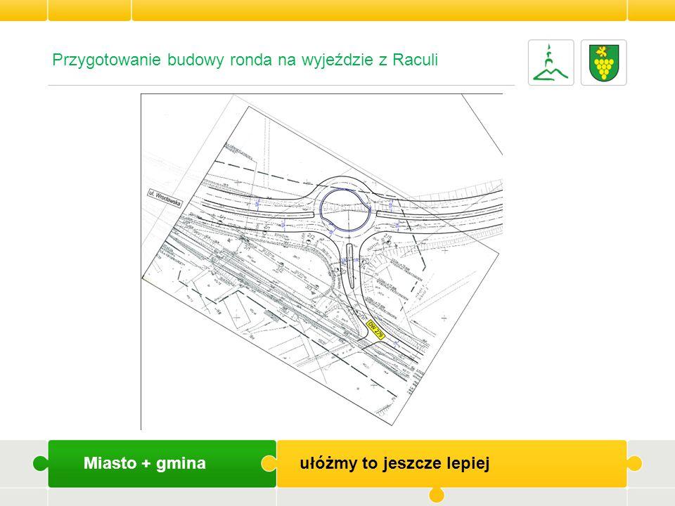 Miasto + gmina ułóżmy to jeszcze lepiej Przygotowanie budowy ronda na wyjeździe z Raculi