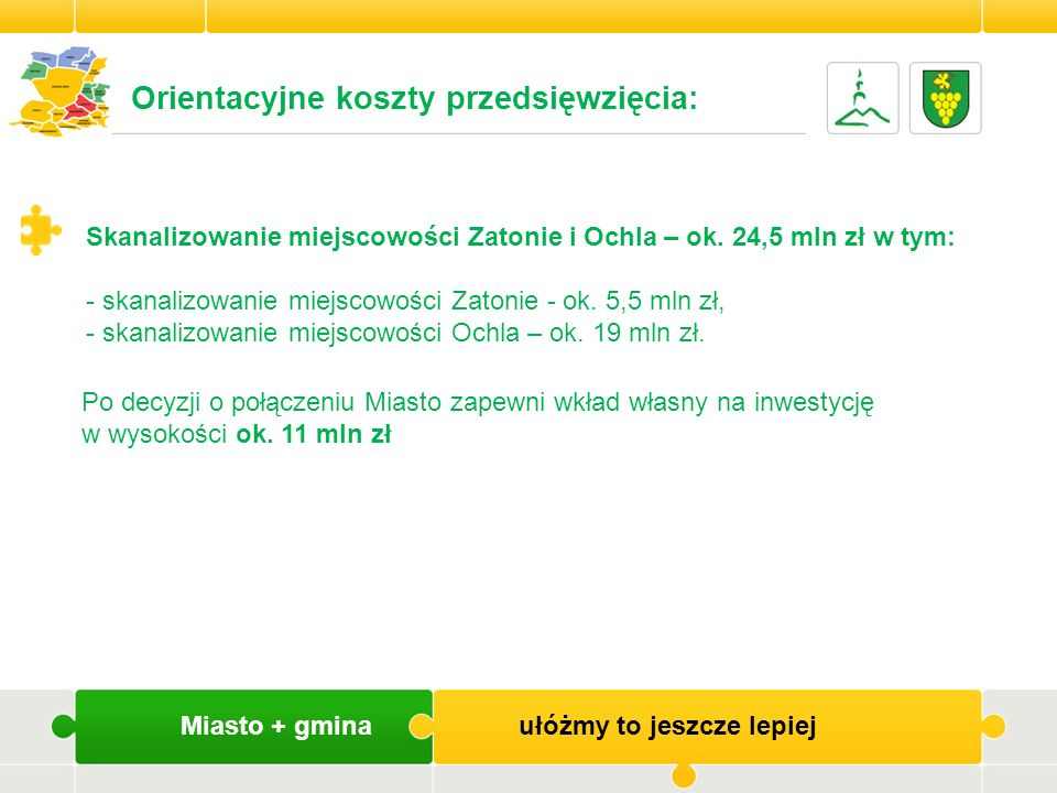Orientacyjne koszty przedsięwzięcia: Skanalizowanie miejscowości Zatonie i Ochla – ok. 24,5 mln zł w tym: - skanalizowanie miejscowości Zatonie - ok.