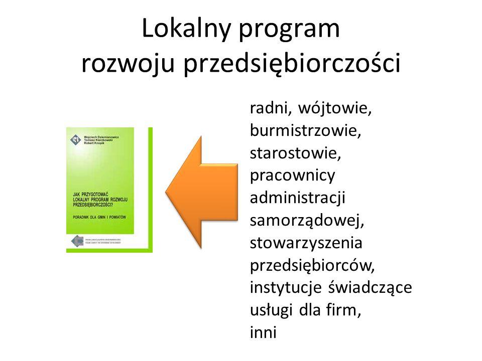 Lokalny program rozwoju przedsiębiorczości radni, wójtowie, burmistrzowie, starostowie, pracownicy administracji samorządowej, stowarzyszenia przedsiębiorców, instytucje świadczące usługi dla firm, inni