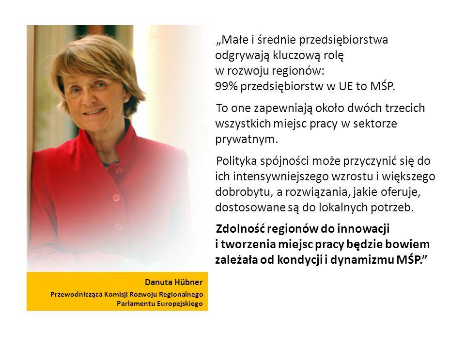 Danuta Hübner Przewodnicząca Komisji Rozwoju Regionalnego Parlamentu Europejskiego Małe i średnie przedsiębiorstwa odgrywają kluczową rolę w rozwoju regionów: 99% przedsiębiorstw w UE to MŚP.