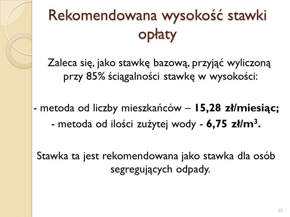 Rekomendowana wysokość stawki opłaty Zaleca się, jako stawkę bazową, przyjąć wyliczoną przy 85% ściągalności stawkę w wysokości: - metoda od liczby mieszkańców – 15,28 zł/miesiąc; - metoda od ilości zużytej wody - 6,75 zł/m 3.