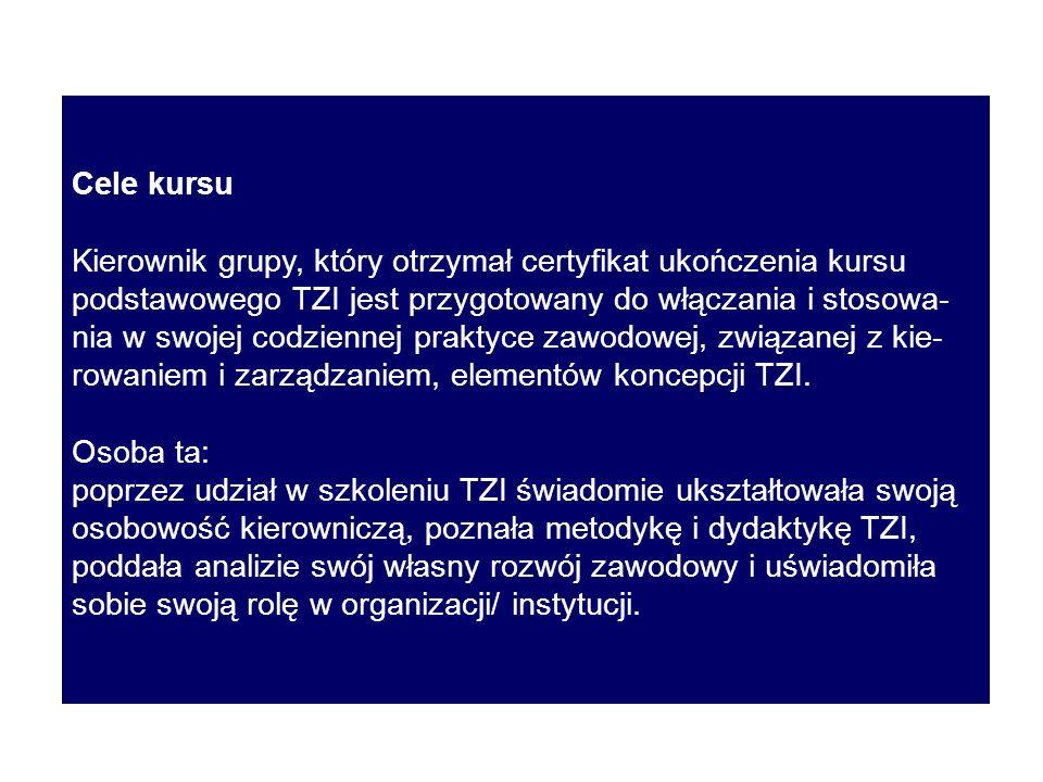 Cele kursu Kierownik grupy, który otrzymał certyfikat ukończenia kursu podstawowego TZI jest przygotowany do włączania i stosowa- nia w swojej codziennej praktyce zawodowej, związanej z kie- rowaniem i zarządzaniem, elementów koncepcji TZI.
