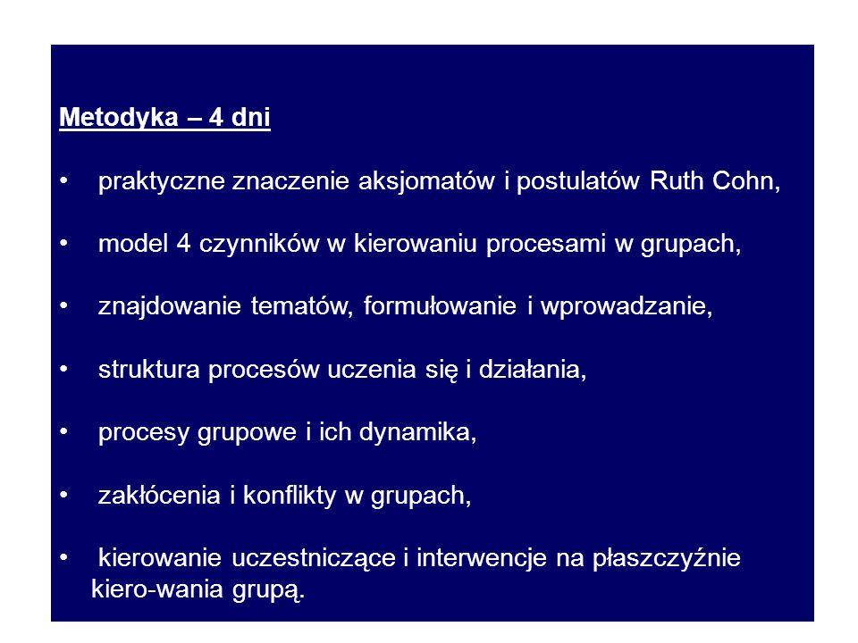 Metodyka – 4 dni praktyczne znaczenie aksjomatów i postulatów Ruth Cohn, model 4 czynników w kierowaniu procesami w grupach, znajdowanie tematów, form