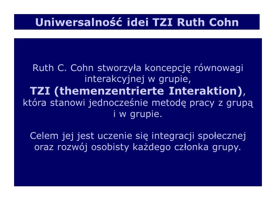 Ruth C. Cohn stworzyła koncepcję równowagi interakcyjnej w grupie, TZI (themenzentrierte Interaktion), która stanowi jednocześnie metodę pracy z grupą
