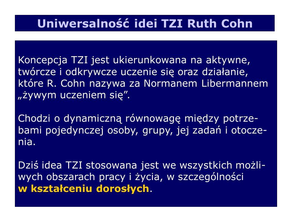 Koncepcja TZI jest ukierunkowana na aktywne, twórcze i odkrywcze uczenie się oraz działanie, które R. Cohn nazywa za Normanem Libermannem żywym uczeni