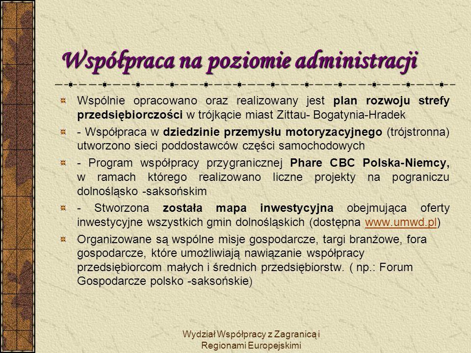 Wydział Współpracy z Zagranicą i Regionami Europejskimi Współpraca na poziomie administracji Współpracy gospodarczej służą liczne umowy na szczeblu regionalnym lub lokalnym.