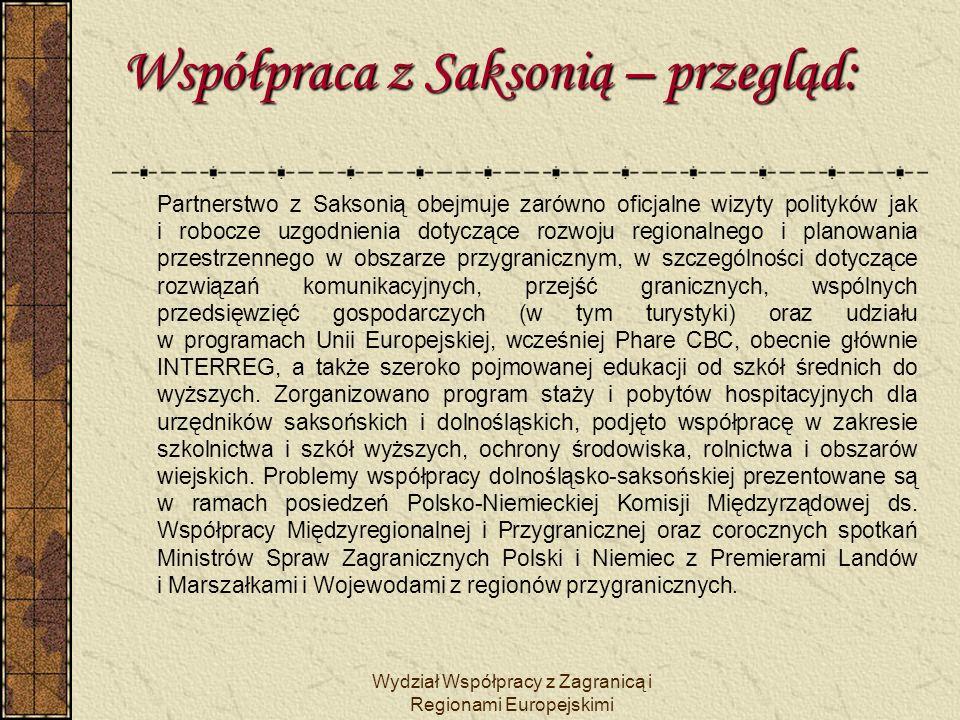 Wydział Współpracy z Zagranicą i Regionami Europejskimi Współpraca z Saksonią – przegląd: Wspierana jest działalność Polsko – Niemiecko – Czeskiego Euroregionu Nysa.