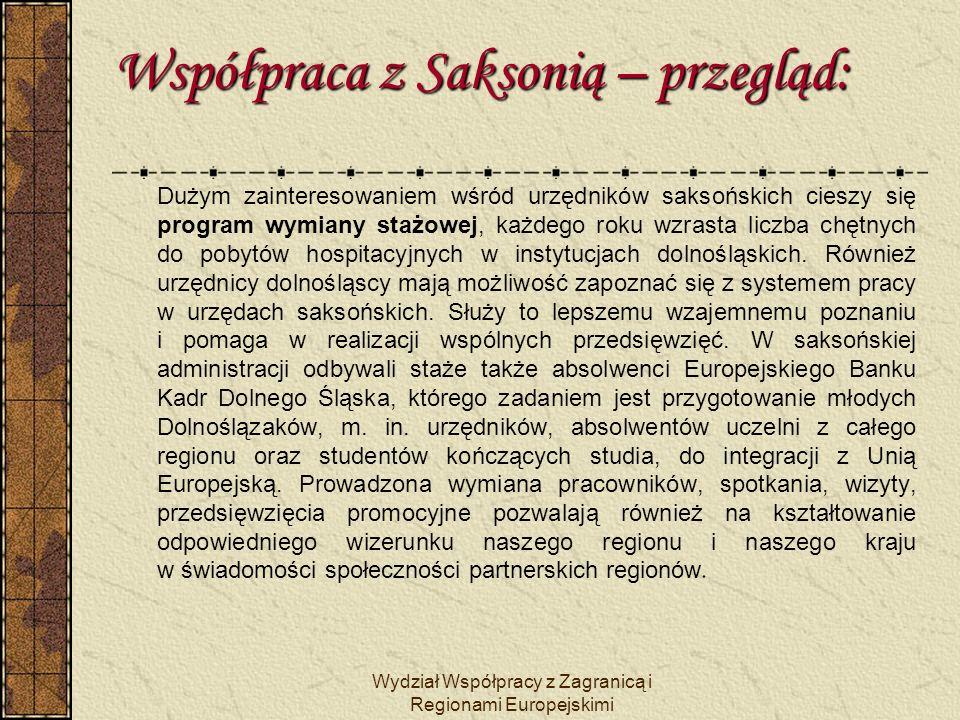 Wydział Współpracy z Zagranicą i Regionami Europejskimi Współpraca z Saksonią – przegląd: Rok 2005/2006 został ogłoszony przez Polskę i Niemcy Rokiem Polsko - Niemieckim.