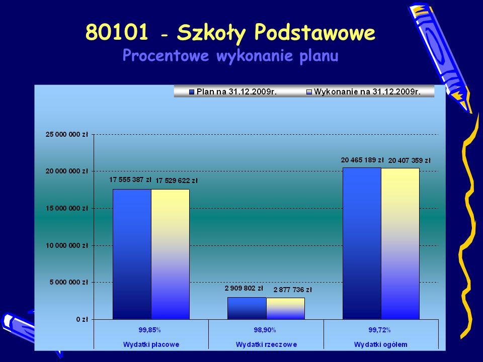 80101 - Szkoły Podstawowe Procentowe wykonanie planu wg paragrafów