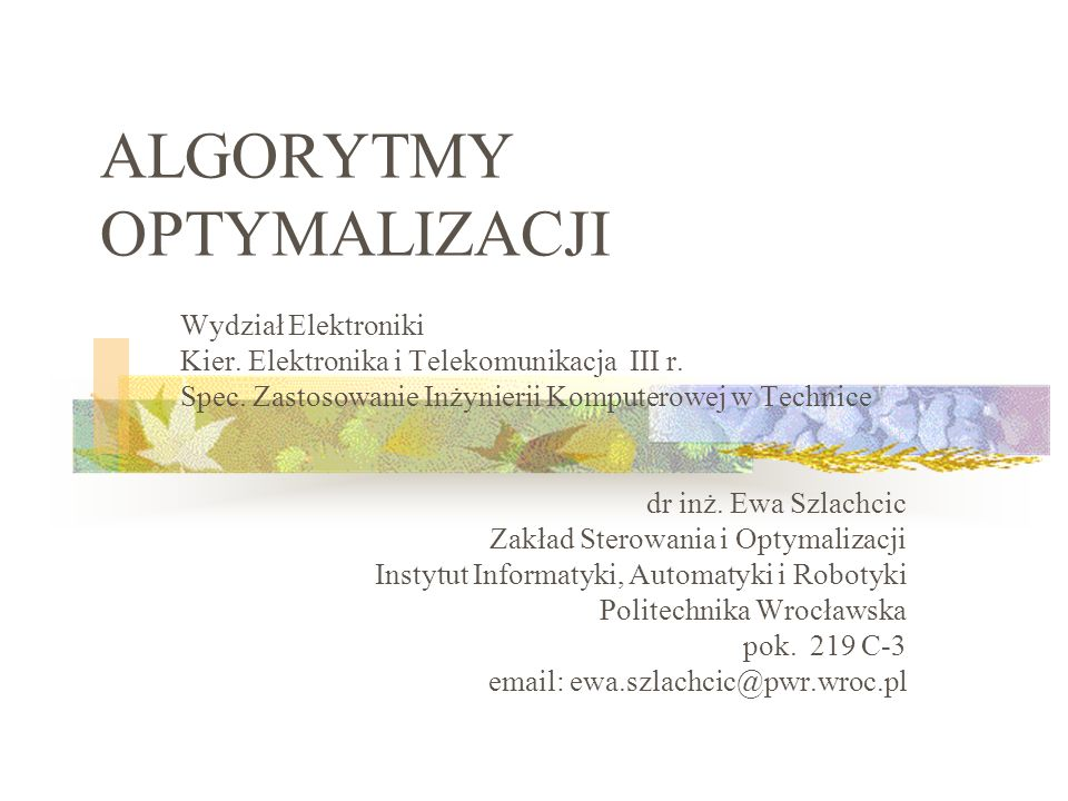 ALGORYTMY OPTYMALIZACJI Wydział Elektroniki Kier.Elektronika i Telekomunikacja III r.