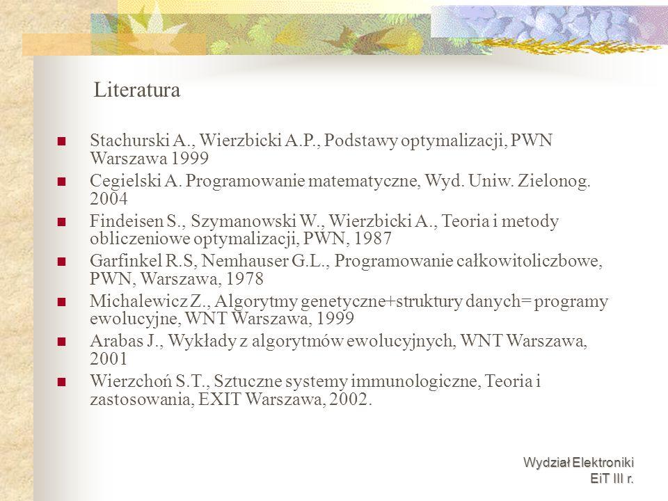 Wydział Elektroniki EiT III r. Stachurski A., Wierzbicki A.P., Podstawy optymalizacji, PWN Warszawa 1999 Cegielski A. Programowanie matematyczne, Wyd.