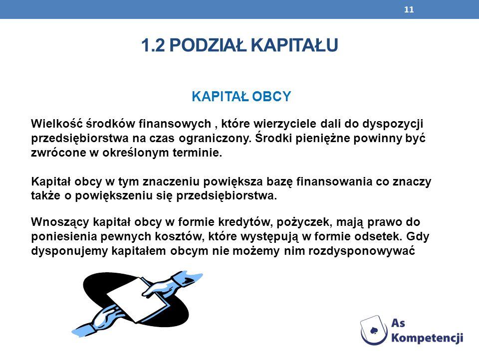 11 KAPITAŁ OBCY Wielkość środków finansowych, które wierzyciele dali do dyspozycji przedsiębiorstwa na czas ograniczony. Środki pieniężne powinny być