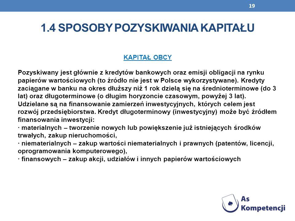 19 KAPITAŁ OBCY Pozyskiwany jest głównie z kredytów bankowych oraz emisji obligacji na rynku papierów wartościowych (to źródło nie jest w Polsce wykor