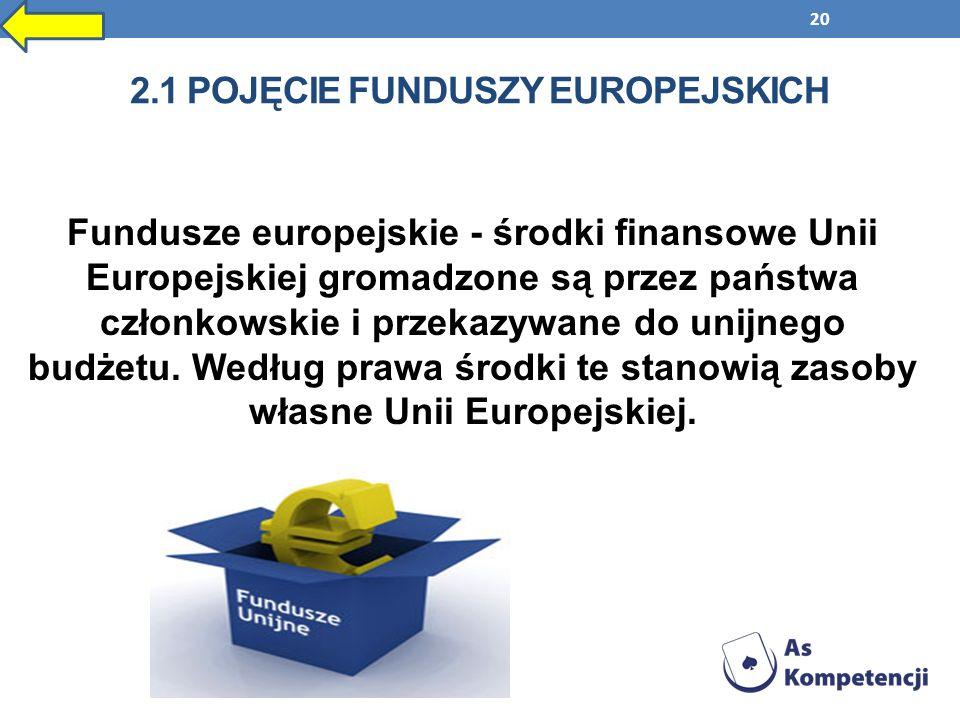 20 2.1 POJĘCIE FUNDUSZY EUROPEJSKICH Fundusze europejskie - środki finansowe Unii Europejskiej gromadzone są przez państwa członkowskie i przekazywane