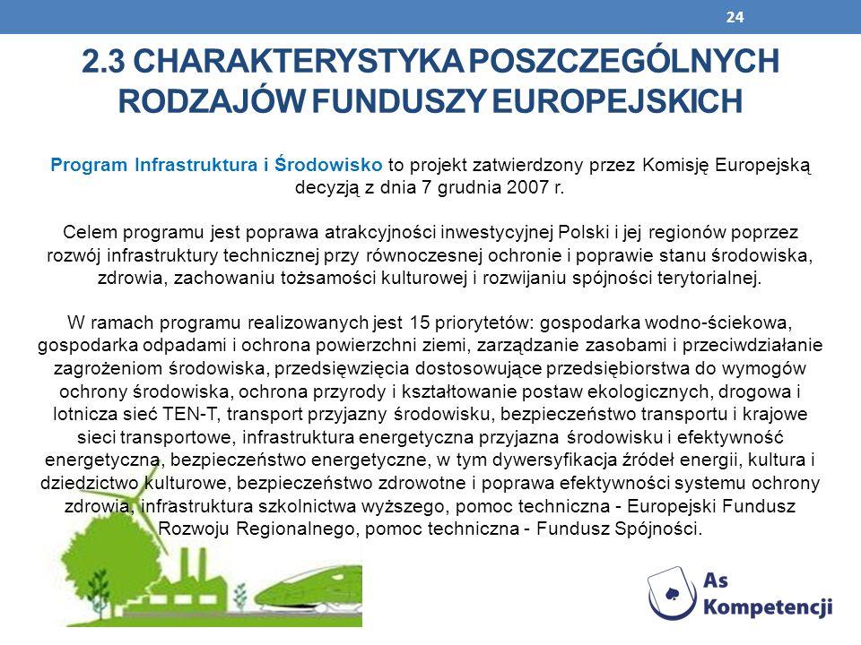 24 Program Infrastruktura i Środowisko to projekt zatwierdzony przez Komisję Europejską decyzją z dnia 7 grudnia 2007 r. Celem programu jest poprawa a