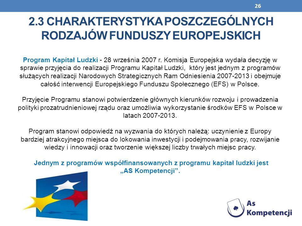 26 Program Kapitał Ludzki - 28 września 2007 r. Komisja Europejska wydała decyzję w sprawie przyjęcia do realizacji Programu Kapitał Ludzki, który jes