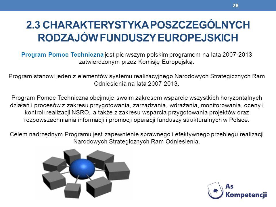 28 Program Pomoc Techniczna jest pierwszym polskim programem na lata 2007-2013 zatwierdzonym przez Komisję Europejską. Program stanowi jeden z element