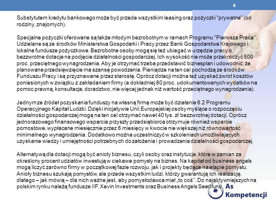 45 dostarczania informacji o możliwościach finansowania działalności gospodarczej poprzez fundusze pożyczkowe, w tym fundusz pożyczkowy bezpośrednio obsługiwany przez Stowarzyszenie w ramach współpracy z Bankiem Gospodarstwa Krajowego prowadzenia warsztatów i doradztwa dla osób bezrobotnych i absolwentów szkół w ramach Ponadgminnego Centrum Informacji, prowadzenia działalności szkoleniowej w oparciu o własną ofertę szkoleń (szkolenia) oraz organizowania szkoleń, seminariów i konferencji na zlecenie klientów, wynajmu sali komputerowo - wykładowej do celów: szkoleniowych, spotkań, seminariów itp.